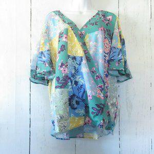 Umgee Top Floral Patchwork Flutter Sleeve